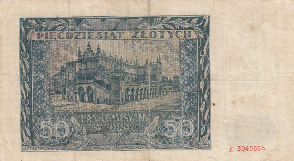 Pologne 50 Zlotych 1941 - Jeune garçon, Statue, Bâtiment - Srie E