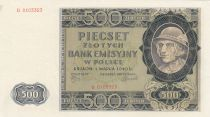 Pologne 500 Zlotych 1940 - Homme, lac, Montagnes