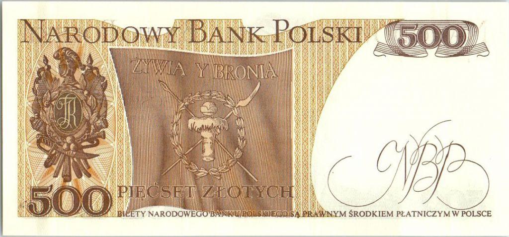 Pologne 500 Zlotych 1982  -  T.Kosciuszko