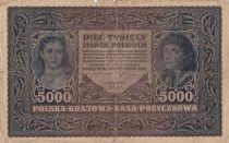 Pologne 5000 Marek  1919  - T. Kosciuszko, Armoiries - Série II AE