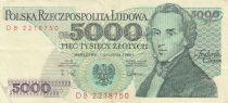 Pologne 5000 Zlotych 1988 - F. Chopin - Série DB