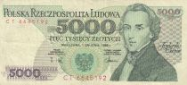 Pologne 5000 Zlotych 1988 - F. Chopin