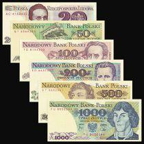 Pologne Série 6 billets du 20 au 1000 Zlotych - Neuf