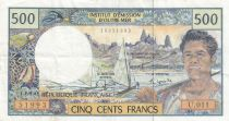 Polynésie Fr. 500 Francs ND1992 - Pêcheur, bateau, plage