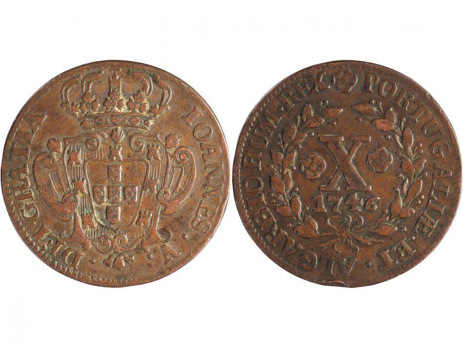 Pièce Portugal 10 Reis 1746 Jean V Armoirie