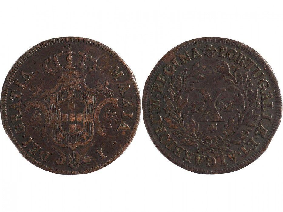 Portugal 10 Reis Maria I - Armoiries - 1792