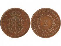 Portugal 10 Reis Maria II - Arms