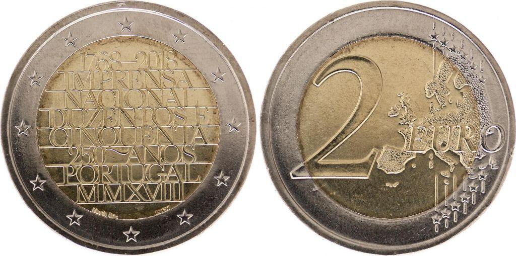 Münze Portugal 2 Euro 2018 100th Ann National Printing Company