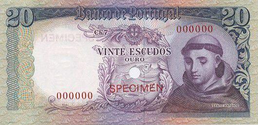 Portugal 20 Escudos Saint Antoine de Padoue