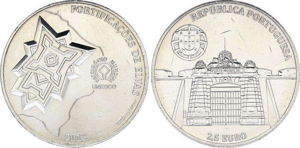 Portugal 2.5 Euro, Fortification de Elvas - 2013