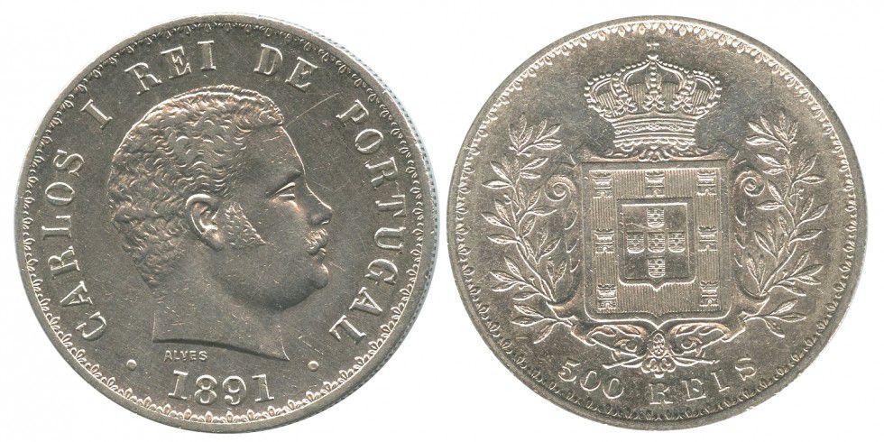Portugal 500 Reis Carlos 1er - Arms