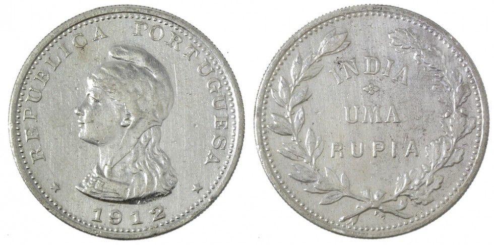 Portuguese India 1 Rupia Liberty - 1912