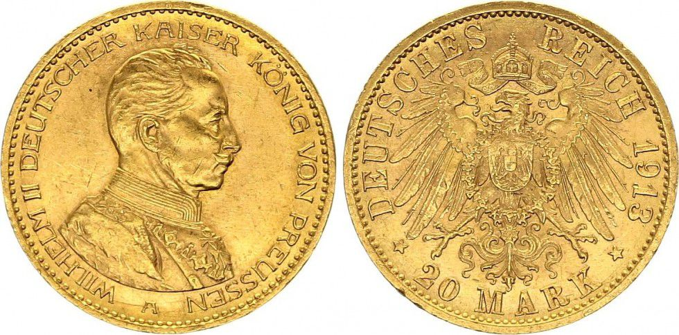 Münze Preußen 20 Mark Wilhelm Ii Imperial Eagle 1913 A Berlin
