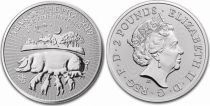 Regno Unito 2 Pounds Elizabeth II - Year of the Pig -  Oz Silver 2018