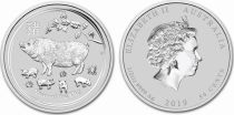 Regno Unito 50 Cents Elizabeth II - Year of the Pig -  1/2 Oz Silver 2019