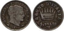 Reino de Napoléon 5 Soldi Napoleon I - 1813 M Milan - Silver