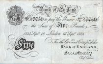 Reino Unido 5 Pounds Black - London 1924 - Sig Harvey