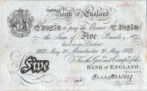 Reino Unido 5 Pounds Black - Manchester 1922 - Sig Harvey