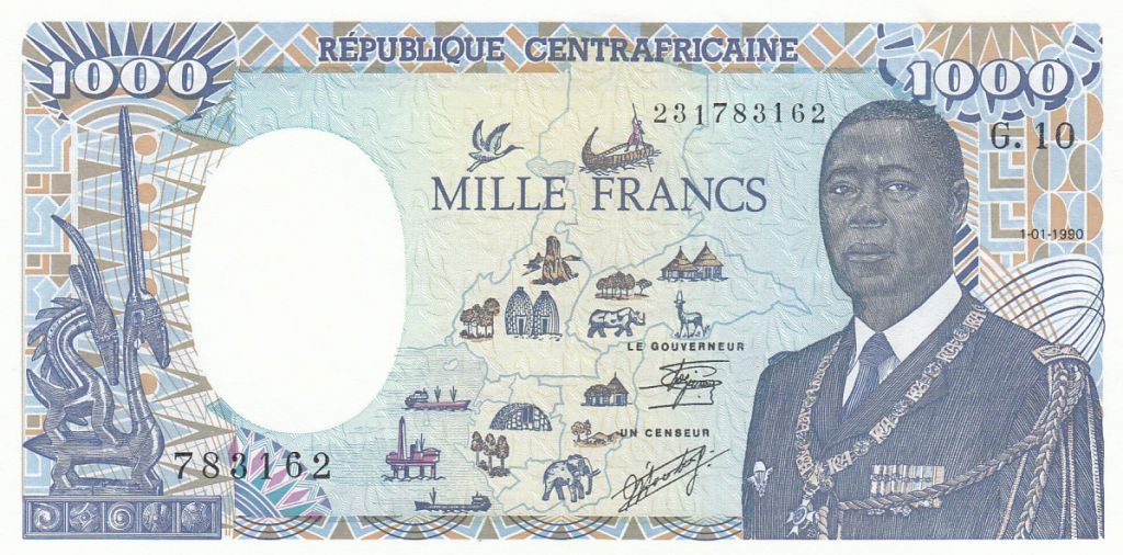 Rép. Centrafricaine 1000 Francs - Général Kolingba - Eléphant - 1990