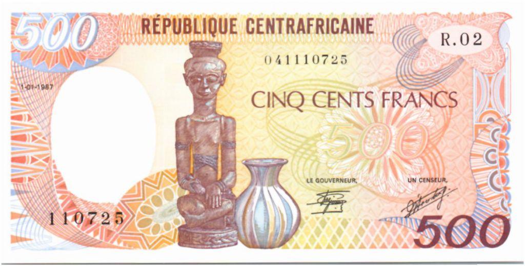 Rép. Centrafricaine 500 Francs Statue et poterie - 1987 - Neuf