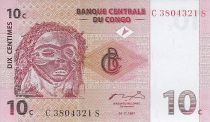 República Democrática del Congo 10 Centimes - Máscara Pende - Bailarines - 1997