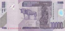 República Democrática del Congo 10000 Francs Carved statuette - Gnu -2013