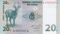 República Democrática del Congo 20 Centimes - Antílopes - Manada - 1997