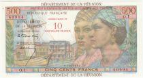 Réunion 10 NF / 500 Francs Pointe-À-Pitre - Surchargé  - 1967 - Sign. Calvet