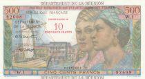 Réunion 10 NF / 500 Francs Pointe-À-Pitre - Surchargé  - 1971