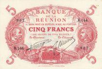Réunion 5 Francs Red, medallic head 1901 (1938) - Serial R.144