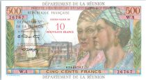 Réunion 500 Francs 2 Girls and sailboat - Overprint 10 NF - 1971