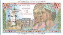 Réunion 500 Francs Pointe-À-Pitre - Surchargé 10 NF - 1971