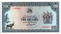 Rhodésie 10 Dollars  Armoiries - Ruines - 01/03/1976