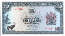 Rhodésie 10 Dollars  Armoiries - Ruines - 15/09/1975