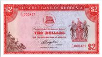 Rhodésie 2 Dollars  Armoiries - Victoria Fall - 1976
