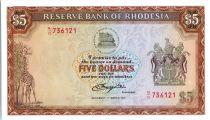 Rhodésie 5 Dollars  Armoiries - Lions - 1976