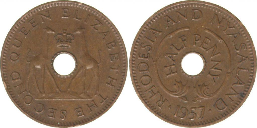 Rhodésie et Niassanland ½ Penny 1957 - Armoiries, girafes