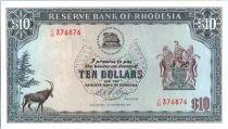 Rodesia 10 Dollars  Arms - Ruins - 03/12/1975