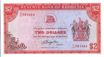 Rodesia 2 Dollars  Arms - Victoria Fall - 1977