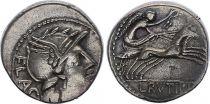 Roma Republic Denarius,  Rutilia 77 BC Rome - F to VF