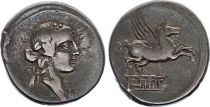 Roma Republic Denarius,  Titia 90 BC Rome - F+