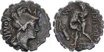 Roma Republic Denarius Serratus,  Poblicia 80 BC Rome - F to VF
