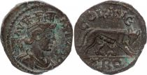 Rome - Provinces 1 As, Alexandrie (Troade) - Tychè, Louve Romulus et Rémus (250-268)