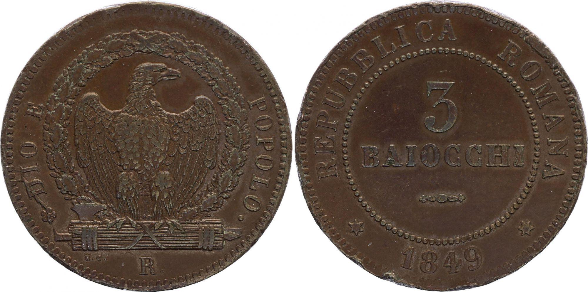 Rome 3 Baiocchi - République Romaine -1849 R
