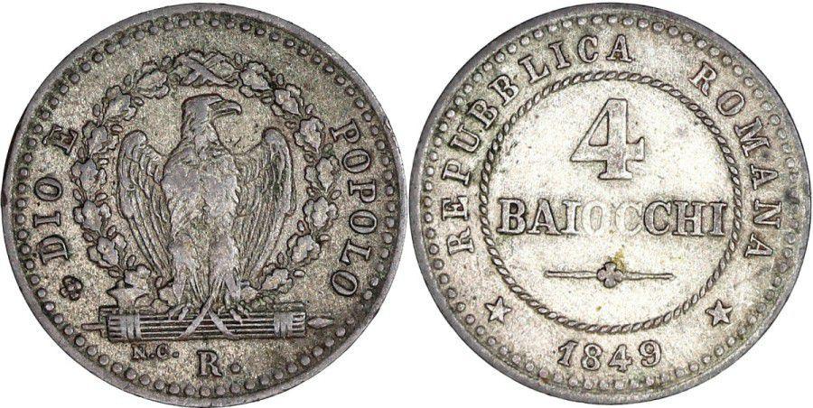 Rome 4 Baiocchi - République Romaine -1849 R