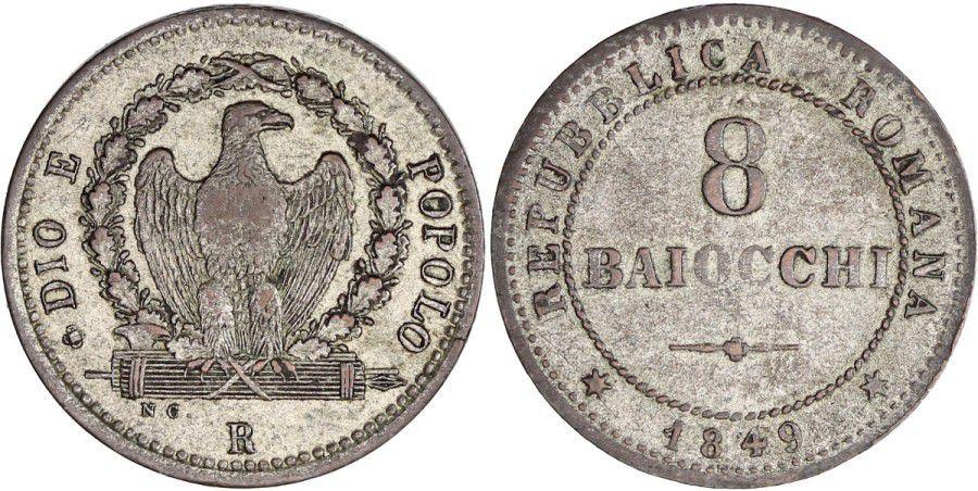 Rome 8 Baiocchi - République Romaine -1849 R