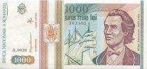 Roumanie 1000 Lei Mihail Eminescu, voilier - Monastère