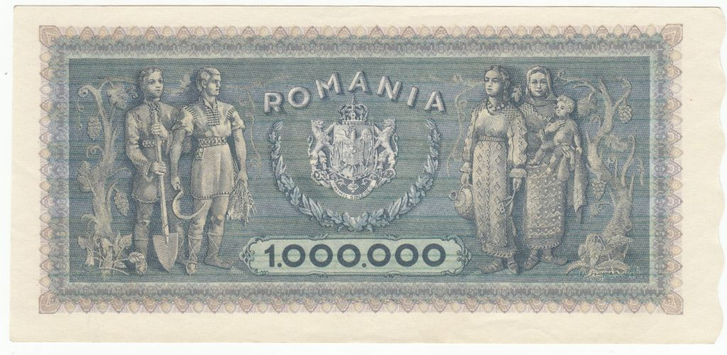 Roumanie 1000000 Lei 1947 - Trajan et Decebal - Paysans, femmes et enfant