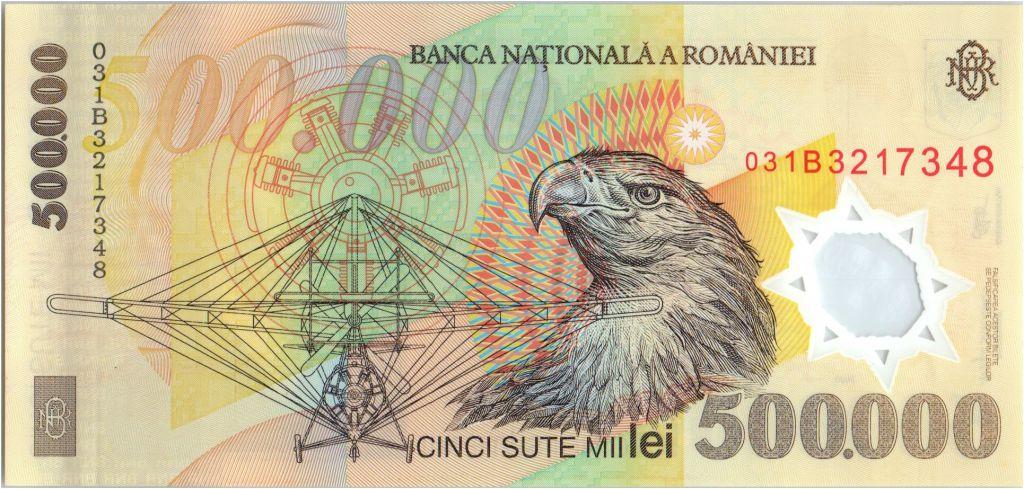 Roumanie 500000 Lei Aurel Vlaicu - Aigle, Edelweiss - 2000 Polymer