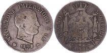 Royaume de Napoléon 5 lire Napoléon I - 1808 M Milan - Argent - KM.10